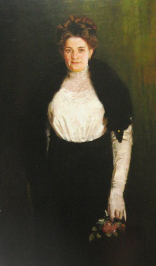 Image -- Osyp Kurylas: Portrait of Artists Wife with a Rose.
