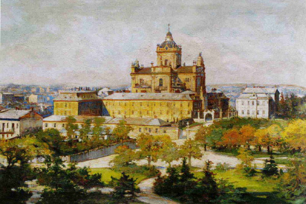 Image -- Osyp Kurylas: View of St Georges Cathedral in Lviv.