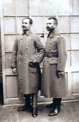 Image -- Osyp Kurylas (with a companion) in his Sich Rifleman uniform.