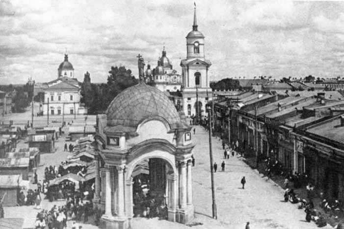Image -- Kyiv Epiphany Brotherhood Monastery seen from Kontraktova Square (1900s).