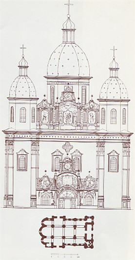 Image - Kyiv Epiphany Church floor plan and western facade.
