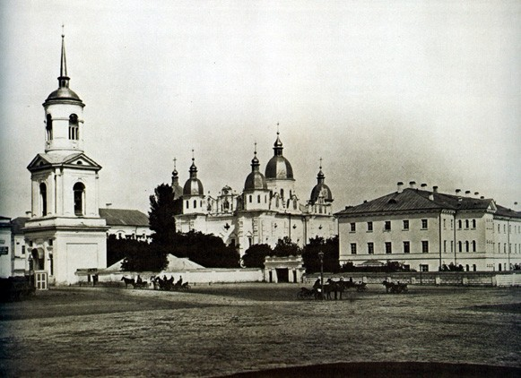 Image - The Epiphany Church with its bell tower of the Kyiv Epiphany Brotherhood Monastery (1900s).