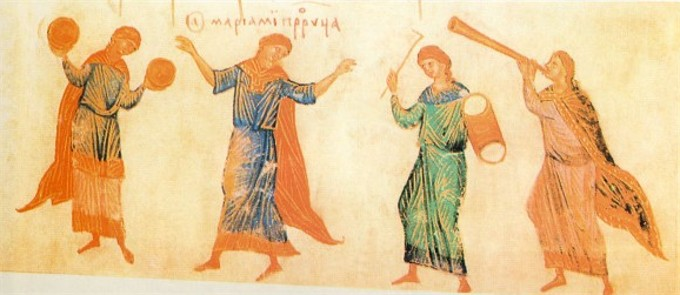 Image - The Dance of Miriam: an illumination from the Kyiv Psalter (1397).