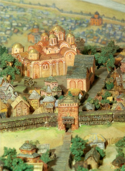 Image -- D. Maziukevych's model of Kyiv's ditynets (11th century) with the Church of the Tithes in the centre.