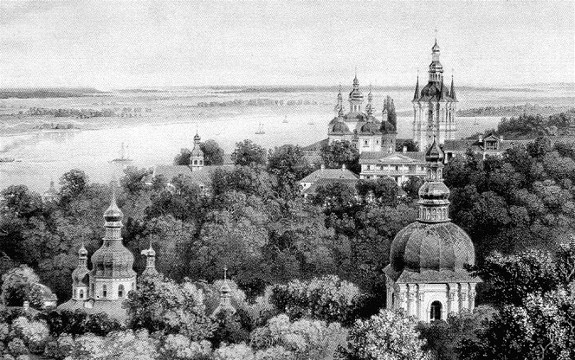 Image - Panorama of the Kyivan Cave Monastery on a 19th-century lithograph.