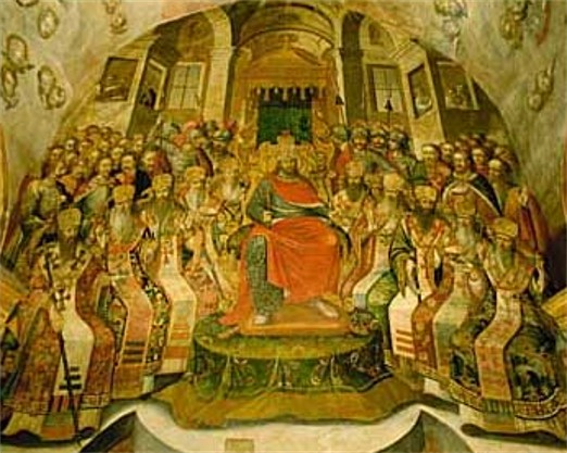 Image - Fresco depicting the Council of Nicea at the Trinity Church of the Kyivan Cave Monastery (Kyivan Cave Monastery Icon Painting Studio, 1730-40).