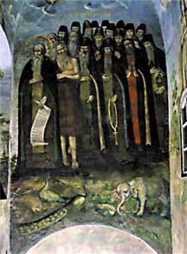 Image - Fresco The Righteous Entering Paradise at the Trinity Church of the Kyivan Cave Monastery (Kyivan Cave Monastery Icon Painting Studio, 1730-40).