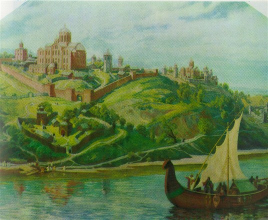 Image - View of the Kyivan Cave Monastery in the 13th century (painting by V. and A. Masyk, 1974).