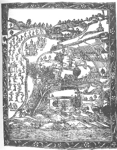 Image - Plan of Far Caves of the Kyivan Cave Monastery in Atanasii Kalnofoisky's book Teraturgima... (1638)