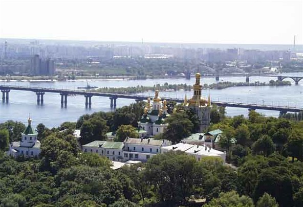 Image - Kyivan Caves Monastery: panorama of the Far Caves area and the Dnieper River.
