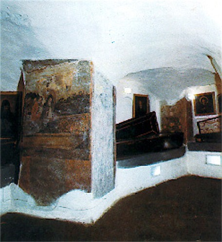 Image -- A monk's cell in the Near Caves of the Kyivan Cave Monastery.