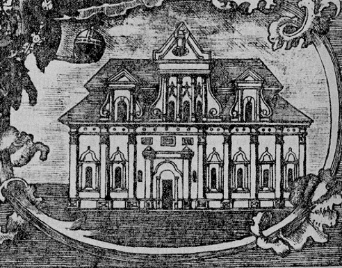 Image -- Copper etching of the building of the Kyivan Cave Monastery Press (1758).