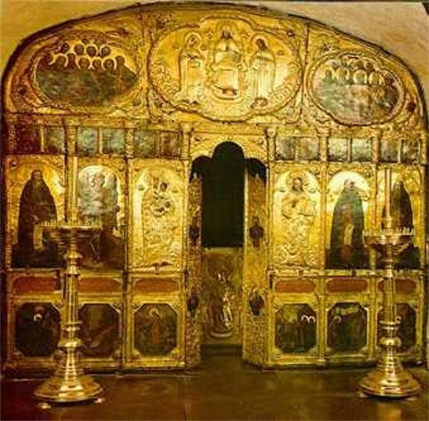 Image -- Iconostsis of the underground Church of Saint Thedosius in the Far Caves of the Kyivan Cave Monastery.