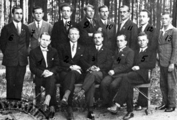 Image - Members of the League of Ukrainian Nationalists. (Sitting first from left: LUN president Mykola Stsiborsky.)