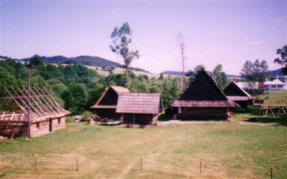 Lemko houses in the Lemko Open-Air Museum in Zyndranova in the Lemko region.