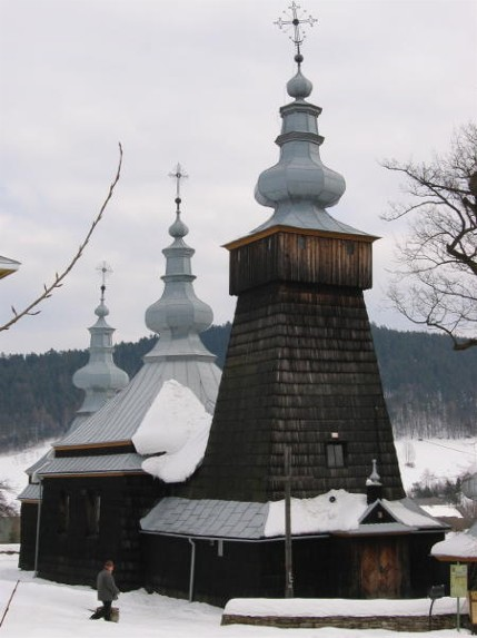 Image -- SS Kosma and Damian Greek-Catholic church in the village of Berest in the Lemko region.