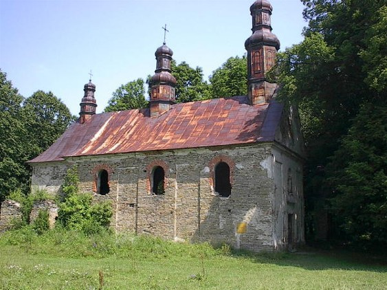 Ruins of a Greek-Catholic church in the village of Krolyk Voloskyi in the Lemko region.