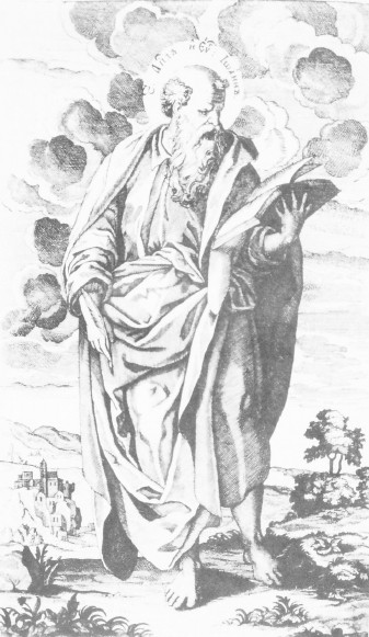 Image -- Hryhorii K. Levytsky: Saint John the Evangelist, engraving in the Apostolos printed by the Kyivan Cave Monastery Press (1738).