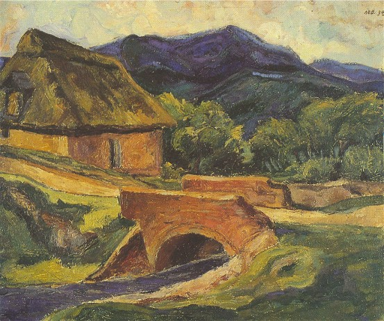 Image - Myron Levytsky: Landscape with Bridge (1938).