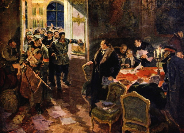 Image -- Oleksandr Lopukhov: The Arrest of the Provisional Government (1957).