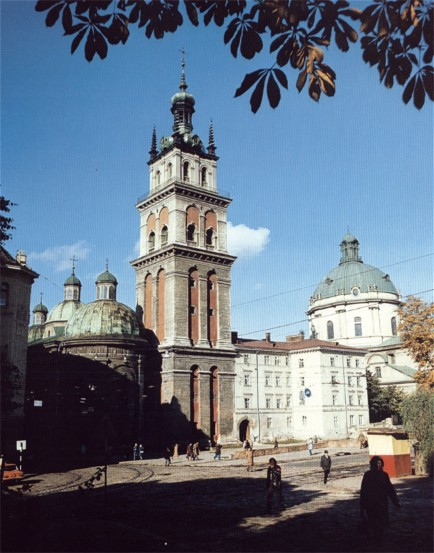 Image - The Church of the Lviv Dormition Brotherhood (built 1591-1631) and the Korniakt Tower (1578).