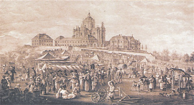 Image - A fair near Saint Georges Cathedral in Lviv (old painting from the school of Master Piller).