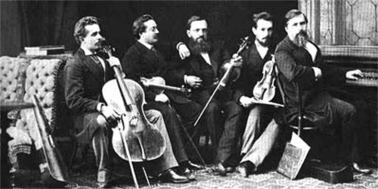 Image - Mykola Lysenko in a quintet of musicians in Kyiv Philharmonic (early 1900s).