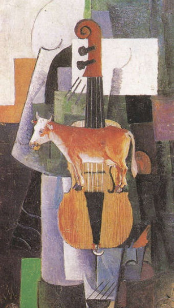 Image - Kazimir Malevich: A Cow and a Violin (1913).
