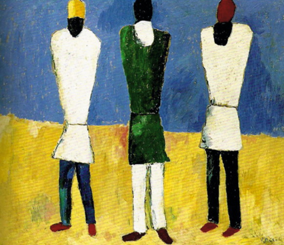 Image - Kazimir Malevich: Three Peasant Figures (1930s).