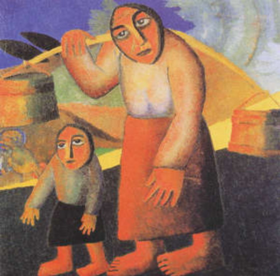 Image - Kazimir Malevich: A Village Woman with Pails and Child (1912).