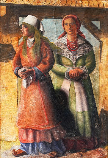 Image - Antin Maliutsa: Two Women by the Gate (1930s).