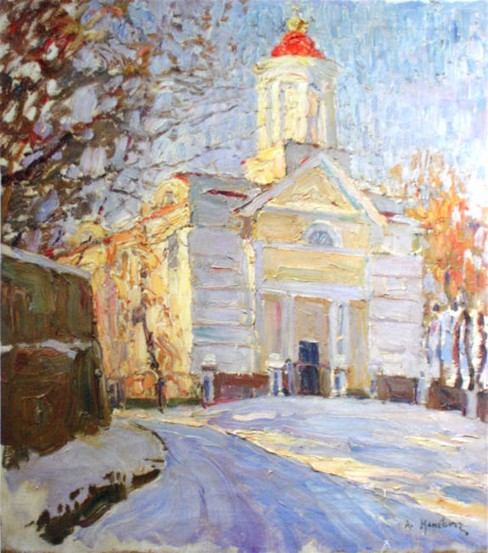 Image - Abram Manevich: Winter Landscape with a Church (1900s).