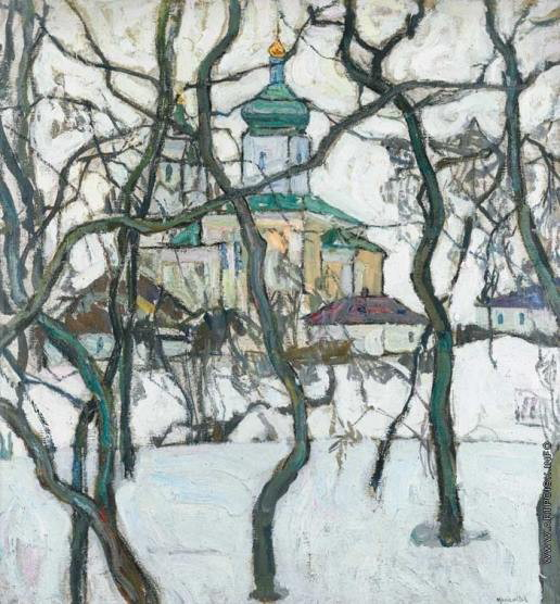Image - Abram Manevich: Winter Landscape with Church.