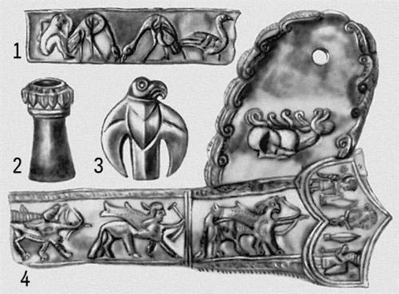 Image - Some artifacts for the Scythian burial mound known as the Melgunov kurhan or Lyta Mohyla.