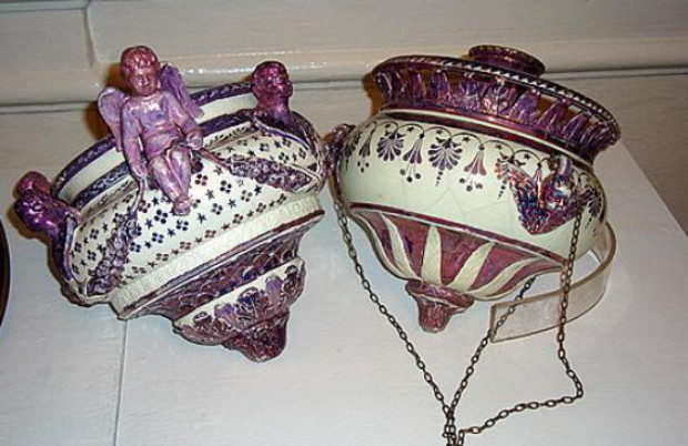 Image - Decorative lamps produced by the Mezhyhiria Faience Factory.