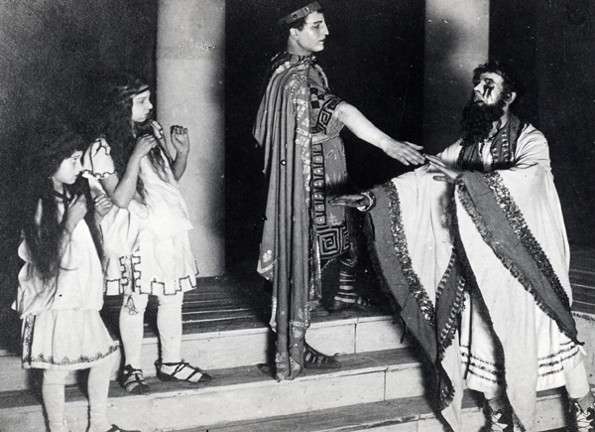 Image -- A scene from the Molodyi Teatr production of Sophocles' Oedipus Rex (1918).