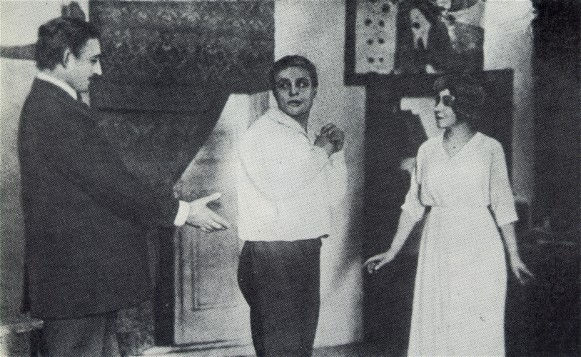 Image - Les Kurbas, Marko Tereshchenko, and Olimpiiia Dobrovolska in the Molodyi Teatr production of Max Halbe's Youth (1919).