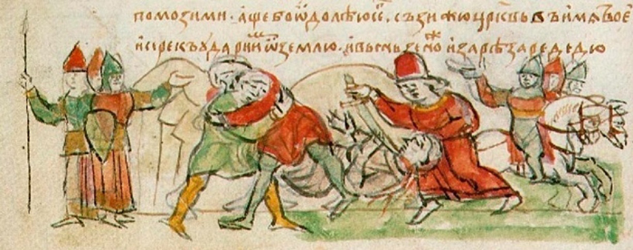 Image - The duel of Mstyslav Volodymyrovych with Rededia (from the Radziwill Manuscript).