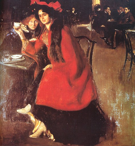 Image - Oleksander Murashko: At a Cafe (1902).