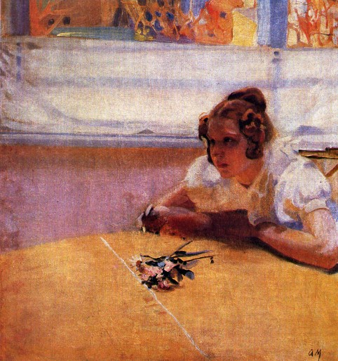 Image - Oleksander Murashko: A Girl at a Table (1910).