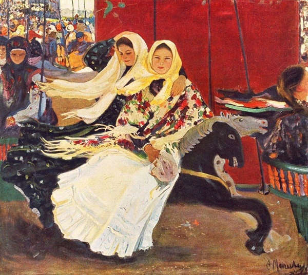 Image - Oleksander Murashko: A Carousel (photo of the original painting, 1906).