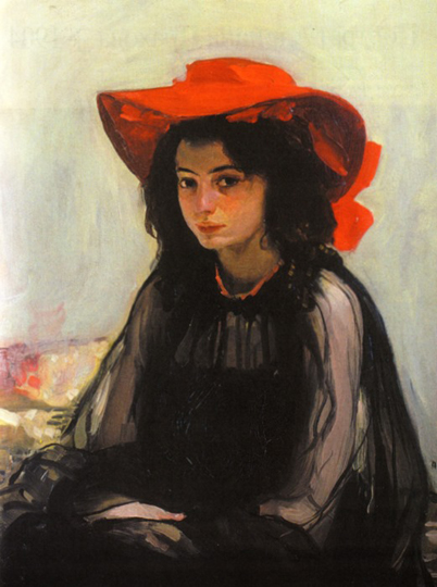 Image - Oleksander Murashko: A Girl with a Red Hat (1902-3).