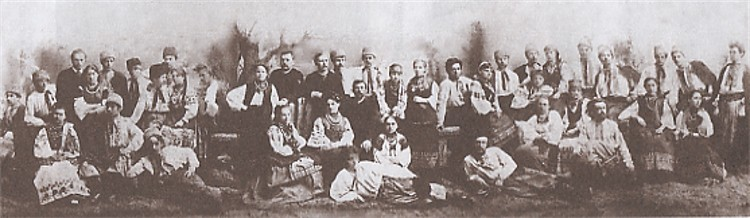 Image -- Mykola Lysenko's choir (10 April 1888). In the centre: Marko Kropyvnytsky, Mykola Lysenko, and Mykola Sadovsky.
