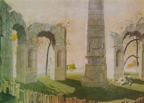 Image - Heorhii Narbut: Ruins and Obelisks (1917).