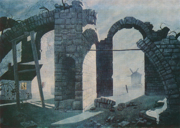 Image - Heorhii Narbut: Ruins and Windmills (1919).