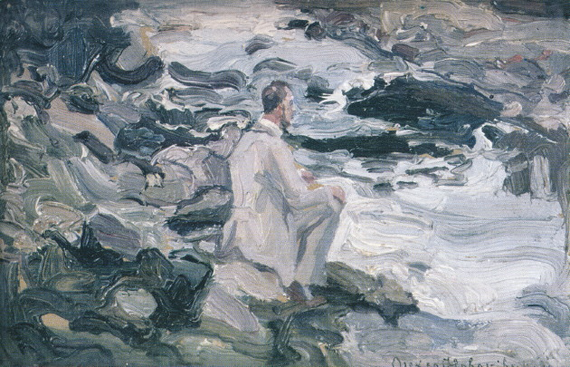 Image -- Oleksa Novakivsky: At a Stream: Poet Sitting on Stones (1921).