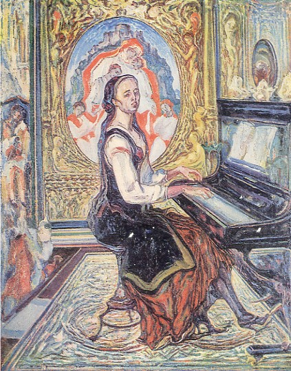 Image - Oleksa Novakivsky: Music. Wife at the Piano (1929).