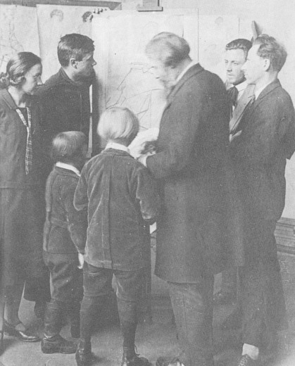 Image -- Oleksa Novakivsky with Novakivsky Art School students.