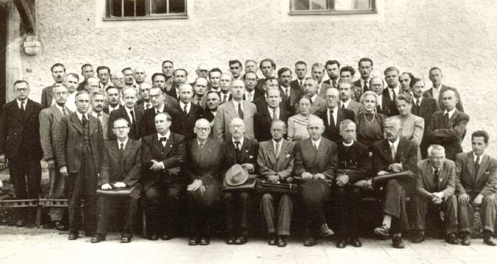 Image -- The Shevchenko Scientific Society (NTSh) convention in Mittenwald (1947).
