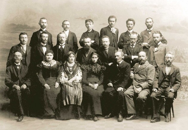 Image -- Members and board of the Shevchenko Scientific Society (NTSh) in Lviv in 1898.